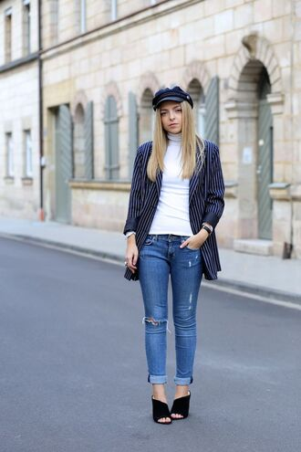 hat black hat white shirt blue striped blazer ripped jeans black cutout boots blogger