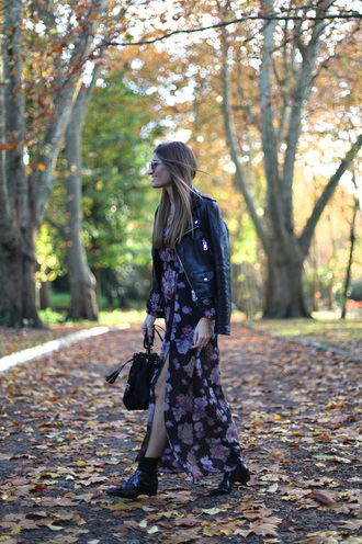 floral dress blogger bag jewels b a r t a b a c sunglasses folk ankle boots slit dress