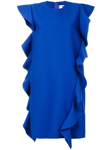 MSGM dress sleeveless dress sleeveless ruffle women spandex blue