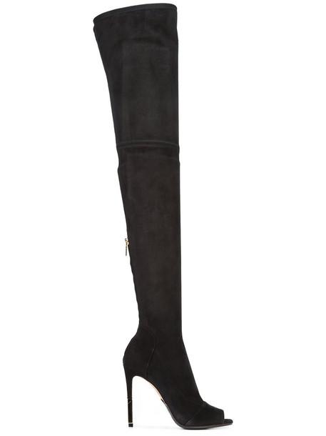 Balmain open women leather black shoes