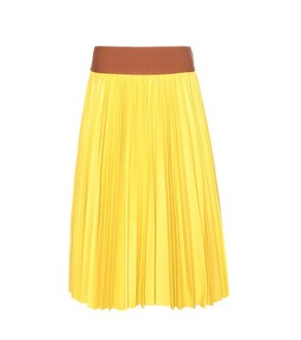 skirt leather skirt pleated leather yellow