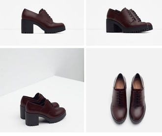 shoes zara platform shoes burgundy oxfords fashion girl preppy alternative heels high heels cleated sole platforms chunky heels heeled oxfords chunky shoes