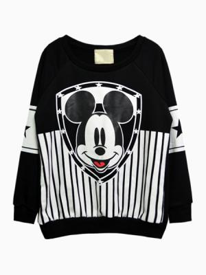 Mickey Stripe Print Sweatshirt | Choies