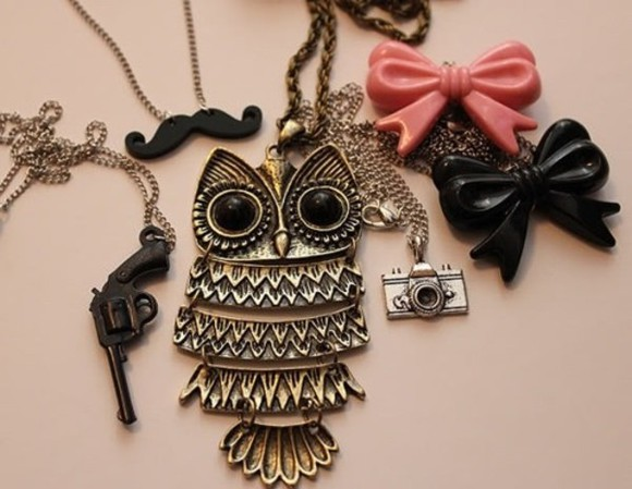 jewels rope bow cut the monster owl pistol camera mustache necklace