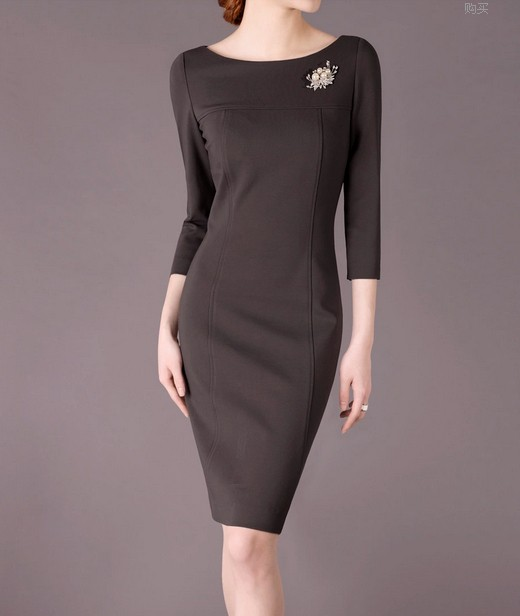 Deep Grey Elegant Noble Summer OL Slim Women Fashion Dress lml7013 - ott-123 - Global Online Shopping for Dresses