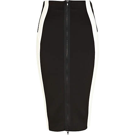 Cream zip front contrast panel pencil skirt - skirts - sale - women