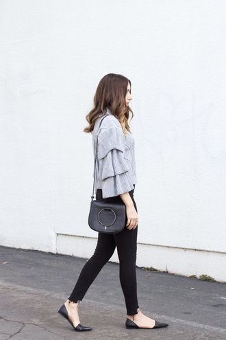 sweater tumblr grey sweater ruffle ruffle sweater bag black bag shoulder bag denim jeans black jeans skinny jeans black skinny jeans flats black flats pointed flats office outfits