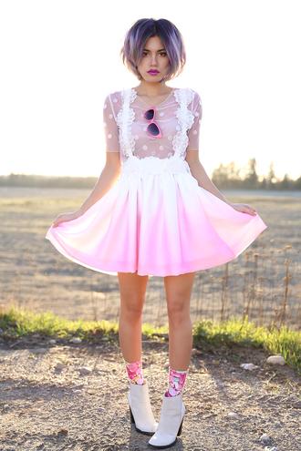 xander vintage blogger socks polka dots kawaii pink dress dress top sunglasses shoes