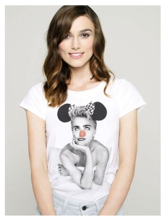 madonna t-shirt casual white t-shirt keira knightley