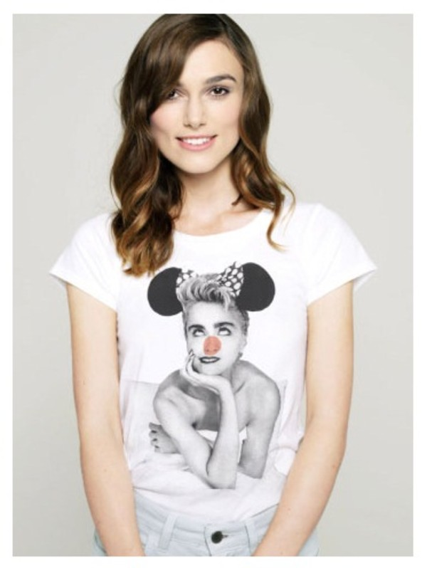 madonna t-shirt casual white t-shirt keira knightley