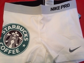 shorts white nike pro nike cheerleading starbucks coffee coffee white shorts white nikes pants nike sportswear sports shorts