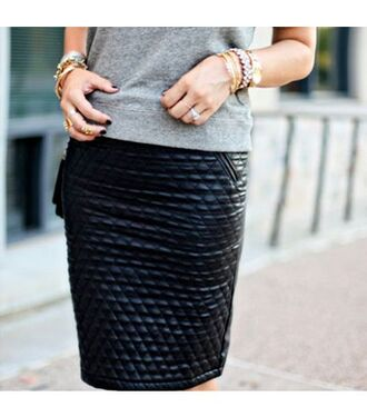 clothes skirt cuir noir cuir black skirt