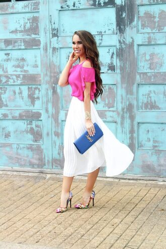 sunshine&stilettos blogger top skirt jewels bag shoes make-up pink blouse clutch ysl bag pumps high heel pumps midi skirt spring outfits