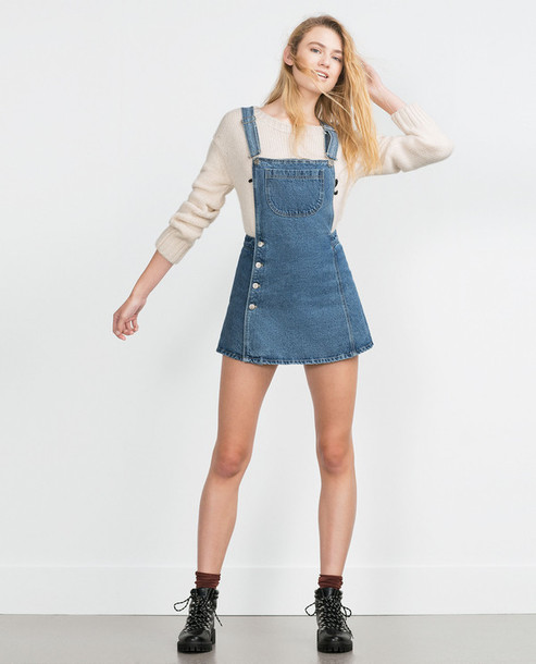 Skirt: denim skirt, dungarees, overalls, denim dress, denim, zara ...