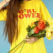 skirt,girl power tshirt,feminist,female,yellow,yellow top,yellow t-shirt,summer,girl,graphic tee,boogzel,boogzel apparel,t-shirt