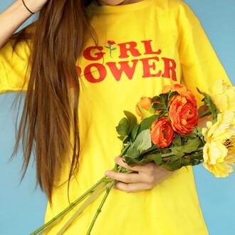 skirt girl power tshirt feminist female yellow yellow top yellow t-shirt summer girl graphic tee boogzel boogzel apparel t-shirt