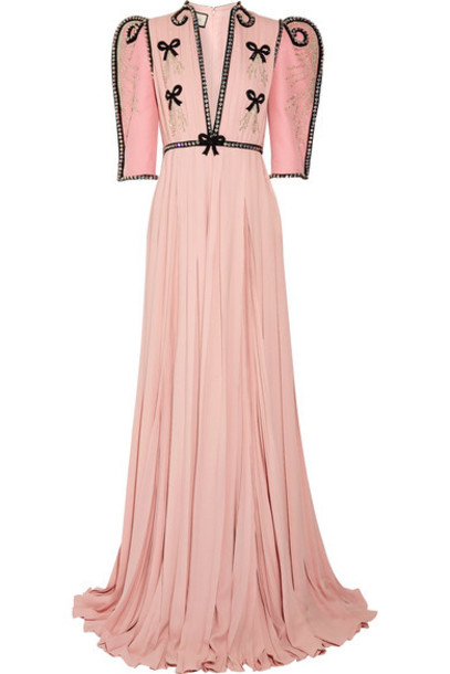 gucci gown chiffon pastel embellished silk wool pink pastel pink dress