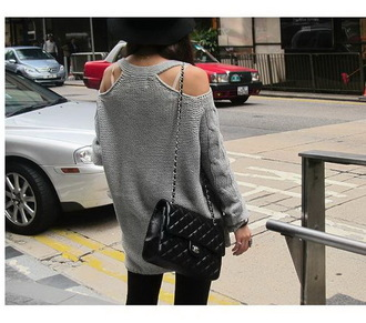 sweater cut-out shoulder sweater long sleeves cut out shoulder bag black bag chanel chanel bag chain bag grey sweater
