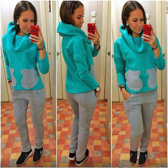 sweater tracksuit mint grey outfit jumper sweater autumn winter love fall outfits fall sweater warm casual sportswear activewear set active style fashion instafashion hoodie trendy girl women free people