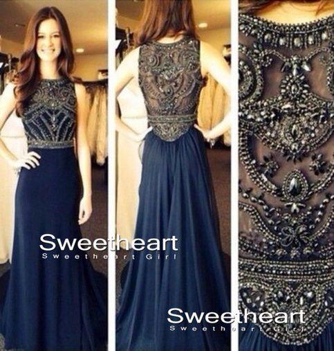 Line beaded long prom dresses, evening dresses, formal dresses