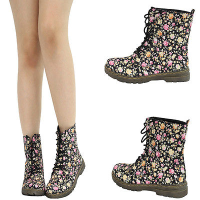 Pink Yellow Floral Lace Up Low Flat Heel Military Combat Women Ankle Boot Bootie   eBay