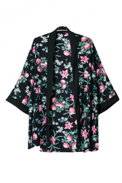 KCLOTH Floral With Leaves Printed Open Front Chiffon Black Kimono
