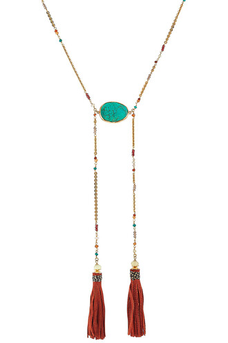 long necklace gold multicolor jewels