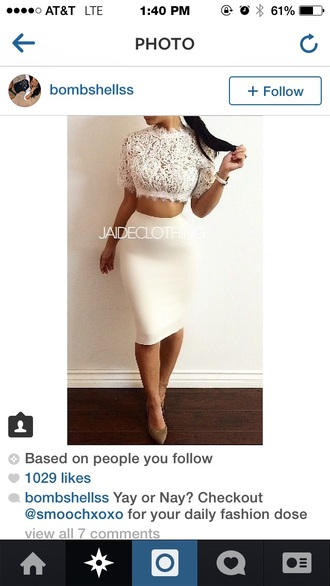 lace top crop tops hight waisted skirt