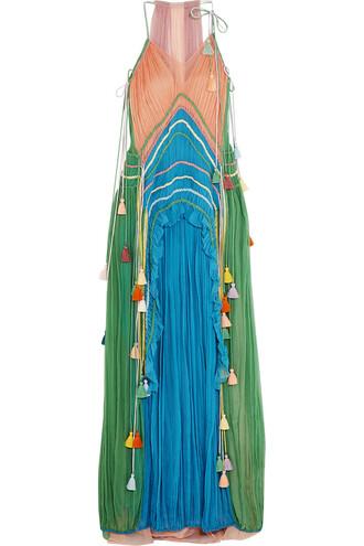 gown silk light blue green light blue dress