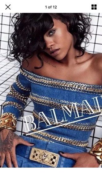 balmain off the shoulder top blue top rihanna editorial