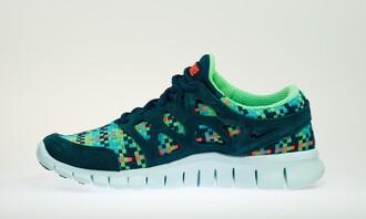 shoes nike green orange blue runnig sportswear sporty nike free run turquoise fitness