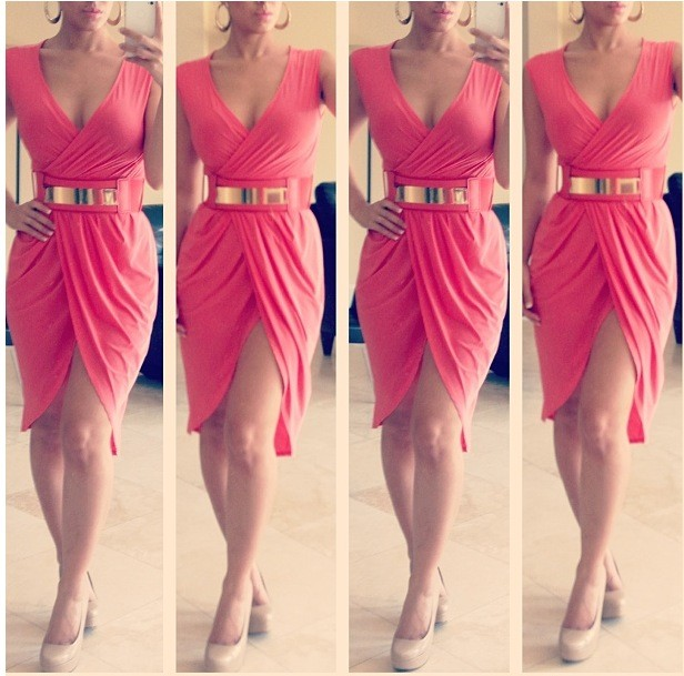EDITION CORAL GOLD WRAP DRESS - Dresses