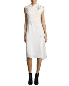 Destroyed Lace Satin Long-Sleeve Dress, Cream