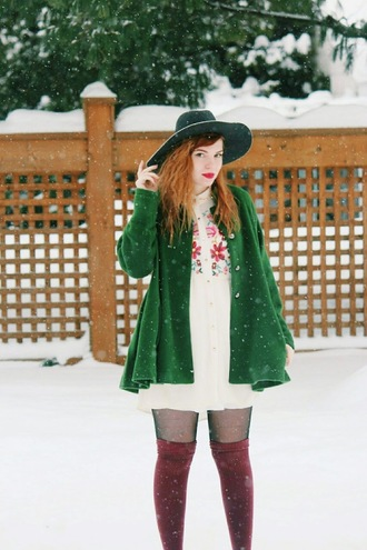 secret garden blogger blouse hat green jacket winter outfits knee high socks socks