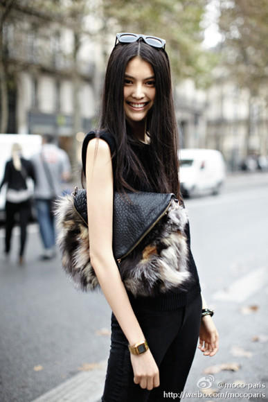 bag envelope clutch fur
