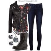 shirt,allison argent,outfit,floral,jacket,jeans,pants