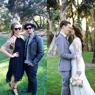 dress slit slit dress tattoo gorgeous wedding wedding dress bridal gown summer floral pink flowers lace groom wear fashion style instagram lovely