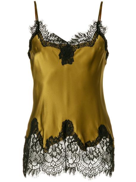 Gold Hawk - satin lace trim camisole - women - Cotton/Silk/Viscose/Nylon - XL, Green, Cotton/Silk/Viscose/Nylon