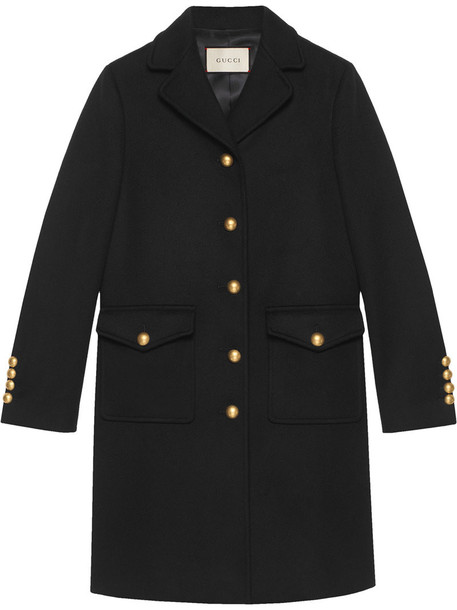 gucci coat wool coat women black silk wool