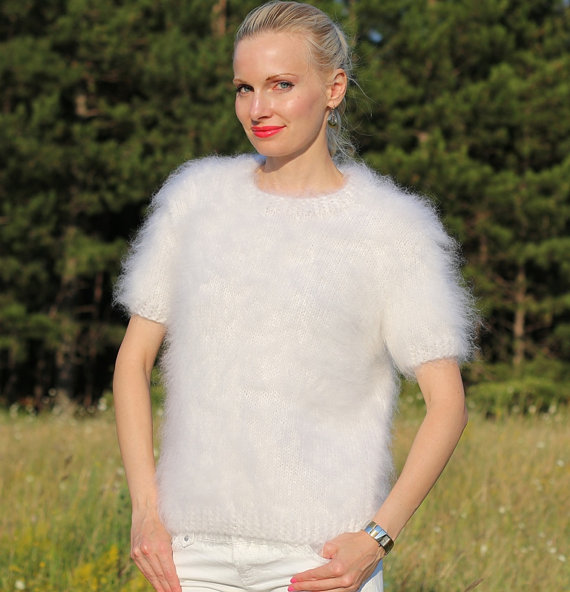 Hand knitted mohair sweater in white with short by supertanya