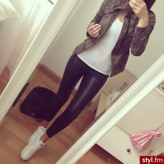 jacket shoes red lime sunday leather camouflage leggings fashion