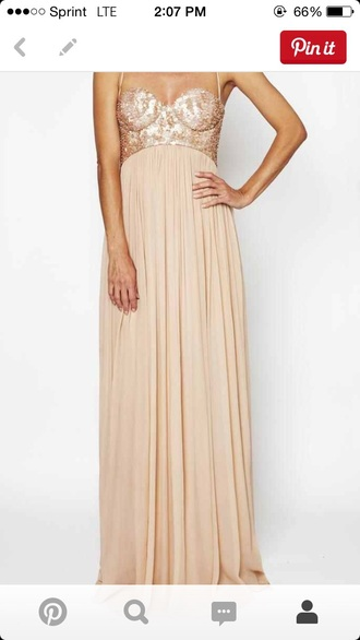 dress tan skin color formal straps sequins prom long simple dress cute flowy sparkly