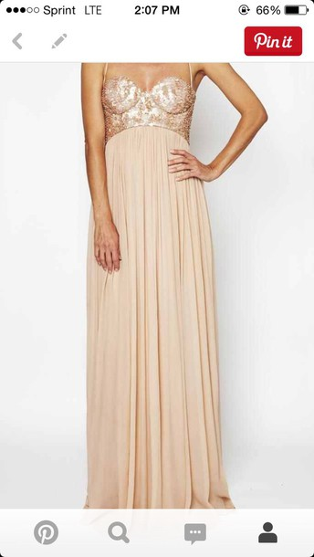 dress tan skin color formal straps sequins prom long simple dress cute flowy sparkle
