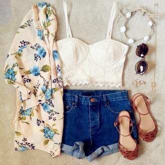 blouse ivory floral shirt white crop tops white top shorts brown sandals shoes sunglasses headband hair accessories jewels jewelry outfit clothes