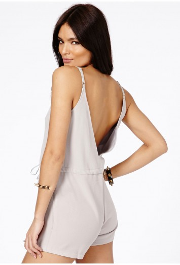 Kornelita Strappy Drawstring Playsuit - Jumpsuits and Playsuits - Missguided