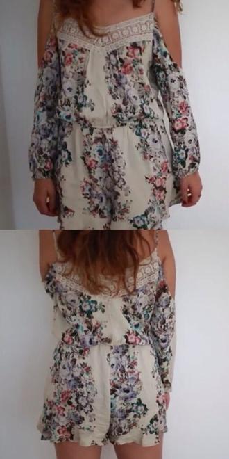 jumpsuit pattern flowers romper floral pattern creme beige floral shorts lace jumpsuit