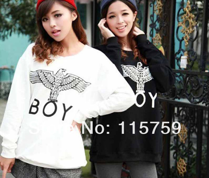 2014 new fashion BOY LONDON eagle pattern print loose long sleeved sweater for female Free shipping /bear hoodie-in Apparel & Accessories on Aliexpress.com