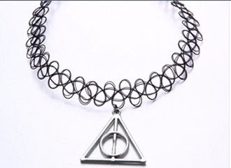 jewels black or white chocker necklace harry potter and the deathly hallows choker necklace