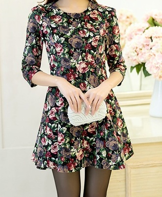 dress floral dress mini dress black dress little black dress