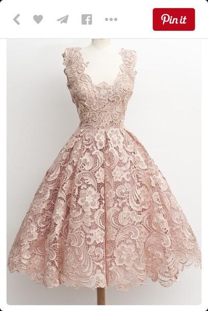 Pastel pink dress lace